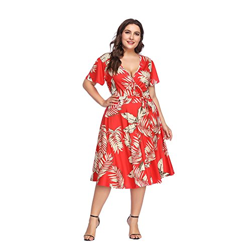 ORICSSON Plus Size Dress Crossed Deep V-Neck Short Sleeve Summer Casual Midi for Women Red