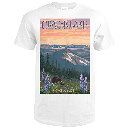 Crater Lake National Park, Oregon - Bear and Spring Flowers 43877 (Premium White T-Shirt X-Large)