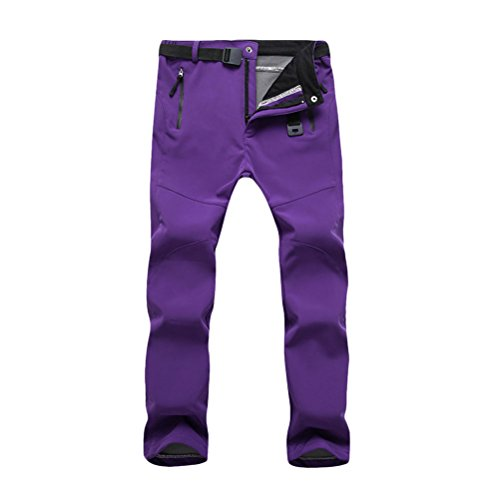 Zhhlinyuan Fashion High Quality Outdoor Women's Riding Skiing Climbing Hiking Fleece Soft Shell Warm Pants Purple