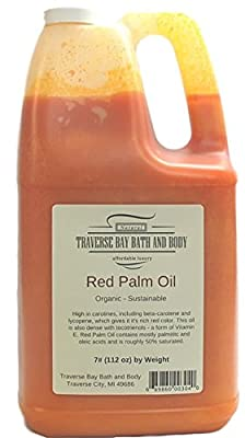 ORGANIC PALM FRUIT OIL RED. Soap making supplies. sustainable 7 pound gallon. from Traverse Bay Bath and Body