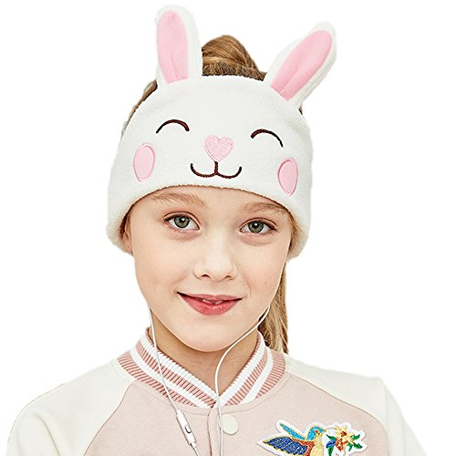 FIRIK Kids Headphones Volume Limited with Easy Adjustable Kids Costume Headband Silky Headphones for Children, Perfect for Travel and Home - Rabbit
