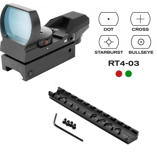 TACBRO Marlin Rifle Deluxe Scope Mount + CQB Reticle Dual Red/Green Open Reflex Sight with Weaver-Picatinny Rail Mount ()