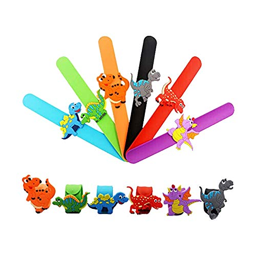 Kids Dinosaur Bracelet, 6Pcs Dinosaur Slap Bracelet Silicone Wristbands Novelty Toy School Prize Gifts Children Goodie Bag Filler Animal Bracelet Dinosaur Party Supplies Kids Party Favors -