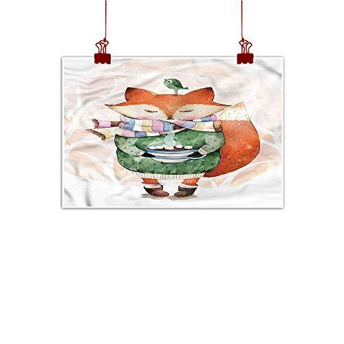 warmfamily Canvas Wall Art Fairy,Fox Drinking Hot Chocolate 48