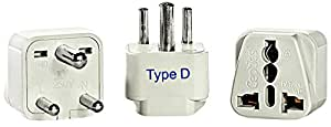 Ceptics GP-10-3PK India Travel Plug Adapter (Type D) - 3 Pack [Grounded & Universal]