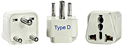 Ceptics India Travel Plug Adapter (Type D) - 3 Pack [Grounded & Universal]