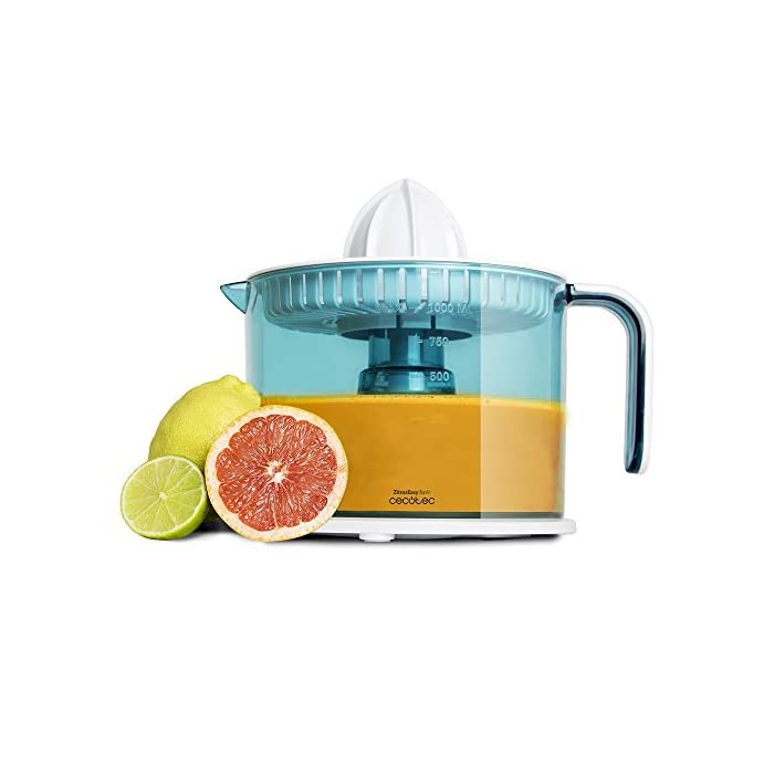 41Ekkjm9G6L Exprimidor eléctrico para naranjas y cítricos con 40 W de potencia. Incluye dos conos desmontables, para cítricos más pequeños o más grandes. Con doble sentido de giro para aprovechar al máximo la fruta y encendido automático con solo presionar el cono con la fruta. Tambor BPA Free, calibrado en ml con capacidad de 1 l. Todas las piezas son desmontables y aptas para el lavavajillas, salvo la base eléctrica.