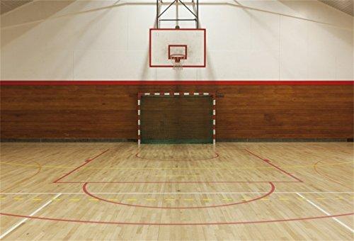AOFOTO 7x5ft Retro Indoor Ball Game Gymnasium Backdrop Basketball Gym Photography Background Goal Line Wooden Floor School Sport Hall Fitness Stadium Photo Studio Props Boy Girl Portrait Wallpaper