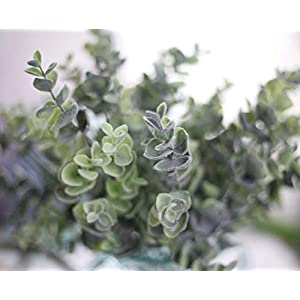 Nolast Artificial Greenery Plastic Plants Faux Shrubs Eucalyptus Fake Bushes Flowers Indoor Outdoor Garden Home Office Decor 3pcs 4