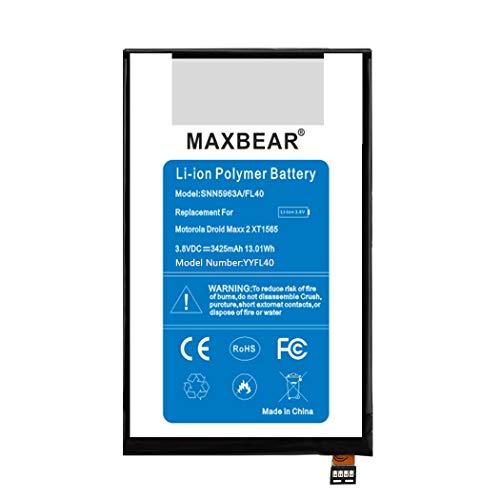 Motorola FL40 Battery, MAXBEAR 3425mAh Li-Polymer Internal Battery SNN5963A Replacement for Motorola Droid.