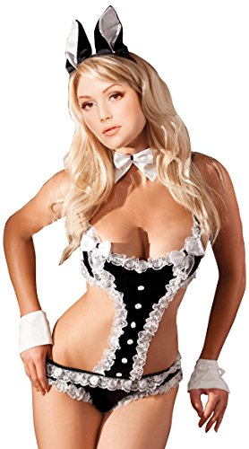 Women's Lady's Sexy Role Play Bunny with Ears Lingerie Costume, Black, One Size (Sexy Bunny Lingerie)