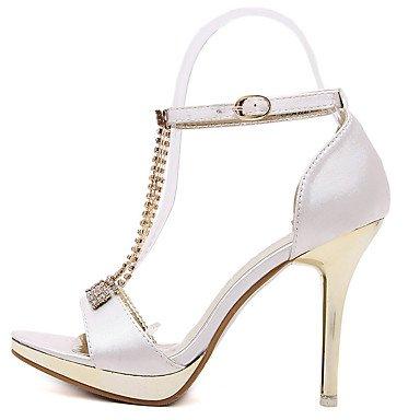 LvYuan Mujer-Tacón Stiletto-Confort Tira en el Tobillo Zapatos del club-Sandalias-Boda Vestido Fiesta y Noche-PU-Beige beige