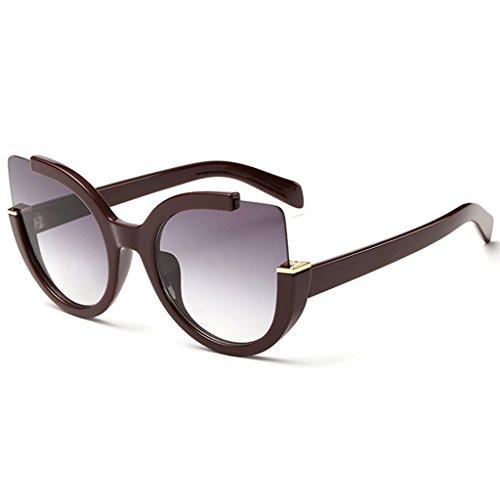 Supertrip Damen Mode Cateye Sonnenbrillen Kunststoff Katzenaugen Sportbrillen Color Wein-Rot/Grau