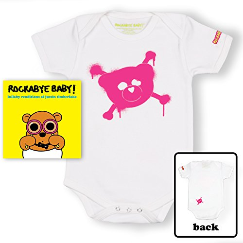 Price comparison product image Rockabye Baby! Lullaby Renditions of Justin Timberlake + Organic Baby Bodysuit (White/Pink)