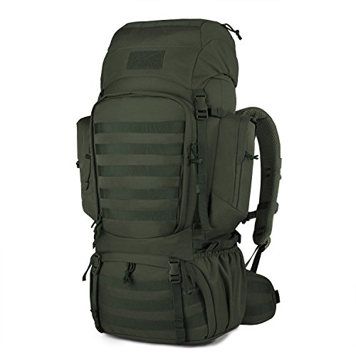 Mardingtop 60L Internal Frame Backpack Tactical Military Molle Rucksack for Camping Hiking Traveling with Rain Cover, YKK Zipper YKK Buckle Army Green-6226