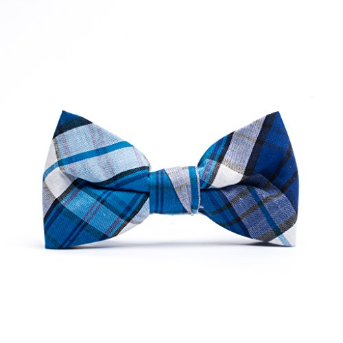 Born to Love - Boys Kids Pre Tied Adjustable Bowtie Easter Holiday Party Dress Up 4 Inches Navy and Blue Plaid Cotton Bow Tie