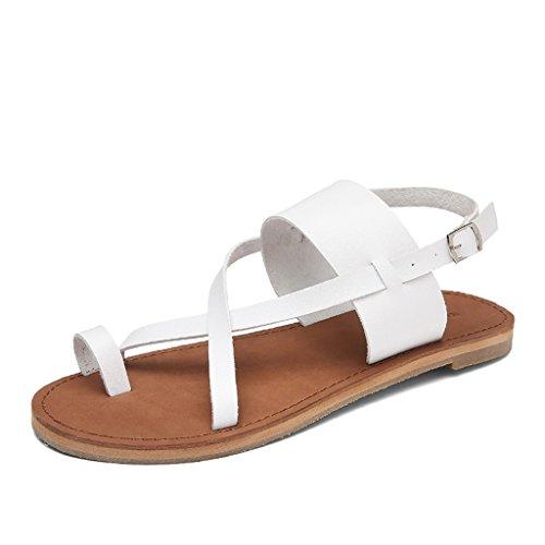 Sandals ZCJB For Women Flat Summer Casual Roman Women Student Simple Clip Toe Shoes Beach Shoes Toe Post Women (Color : Black, Size : 37) White