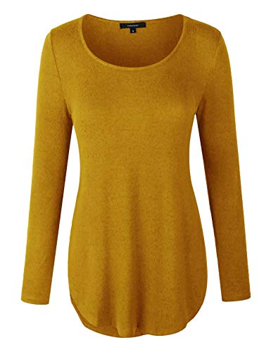 Neck Overlap - makeitmint Women's Solid Long Sleeve Round Neck Overlap Side Hem Hacci Slit Top YIL0019-MUSTARD-LRG