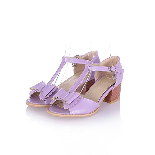 Soft Peep Womens Bowknot Kitten Open M Buckle 4 and Purple Solid with PU B Toe Material 5 WeenFashion Sandals US Heel Eq06xf0w