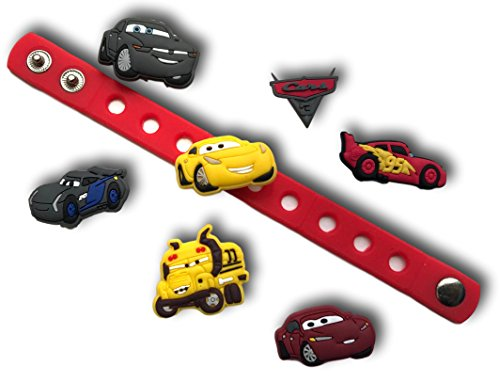 Wristbands Cars (Cute Jibbitz Shoe Charms PVC Plug by Nenistore|Accessories for Crocs Shoes & Bracelet Wristband Party Gifts | Cars (7pcs) & 01 Silicone Wristband 7 Inches)