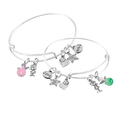 Encounter Angle Just for You Love Adjustable Wire Bangle Charm Bracelet