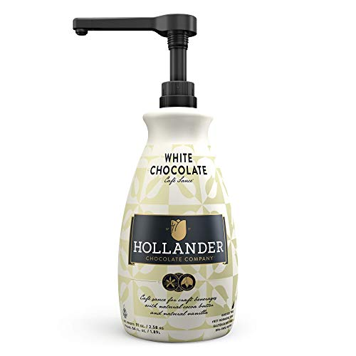 White Chocolate Café Sauce by Hollander Chocolate Co. | For Real White Chocolate Mochas | Perfect for the Professional or Home Barista - Net Wt. 91oz (64 fl. Oz.) Large Bottle (PUMP Included) ()