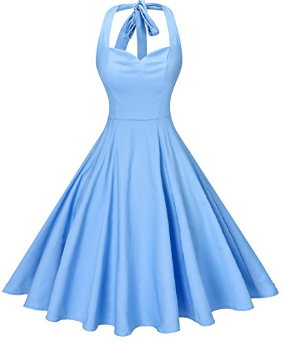 V Fashion Women 's Rockabilly 50s Vintage Polka Dots Halter Cocktail Swing Dress, Pure Light Blue, Small