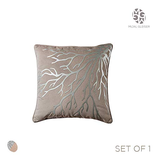 BLASANI Mijal Gleiser Decorative Throw Pillow Cover Bounded with Polyurethane Fabric Laser (Coral Collection Hazelnut…
