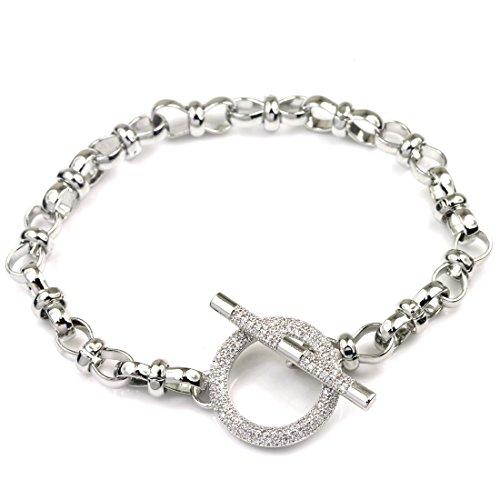 (FANCY COLLECTION FC Jory White Gold GP Link CZ Silver Bar Crystal Charm Women Girl Toggle Bracelet)