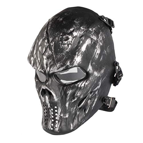 Paintball Mask, Skull Skeleton Full Face Airsoft Mask with Clear Lens Army Fans Supplies M06 Tactical Mask for Halloween Paintball BB Gun CS Game Cosplay and Masquerade Party (Silver Gray) -
