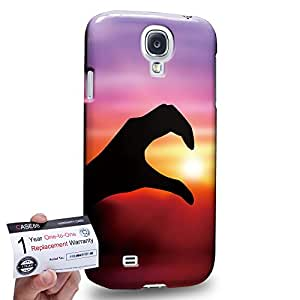 Case88 [Samsung Galaxy S4] 3D impresa Carcasa/Funda dura para & Tarjeta de garantía - Art Fashion Sunset Left Hand