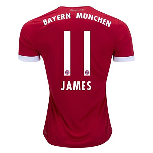 JAMES RODRIGUEZ #11 BAYERN MUNICH 17/18 Home Soccer Jersey Men's Color Red Size L