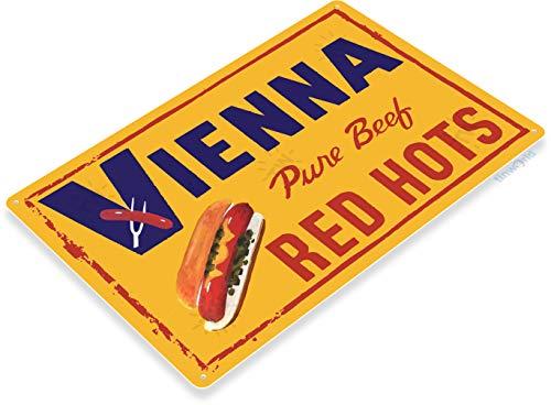 Tinworld TIN Sign C359 Vienna Red Hots Hotdog Beef Retro Kitchen Cottage Sign