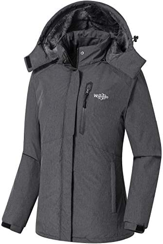 Wantdo Women's Waterproof Ski Jacket Fleece Winter Parka Windproof Snow Coat Water Resistant Raincoat