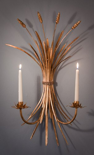 Wheat Candle Sconce in Antique Gold - Set of 2 by DH Decor