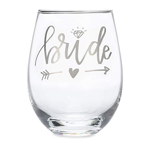 Bride Wine Glass (Metallic Silver) - 20 oz Stemless Wine Glass | Bridal Shower Gift | Wedding Shower | Anniversary ()
