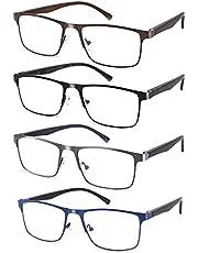 4-pack Blue Light Blocking Reading Glasses For Men Stylish Metal Frame Readers