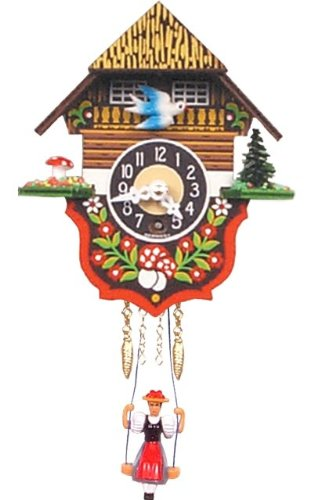 Black Forest Clock with Dove and Swinging Girl