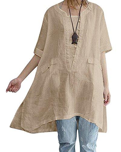 - BBYES Women's Casual Short Sleeve Irregular Hem Asymmetrical Loose Tunic Tops Khaki S