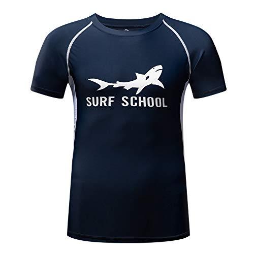 ZITY Men's Rash Guard Surfing Shirt Short Sleeve Swim Tee Wetsuit Top for Man(M,Blue)