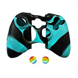 Pandaren Soft Silicone Skin for Xbox 360 Controller Set(BlackBlue Skin X 1 + Thumb Grip X 2)