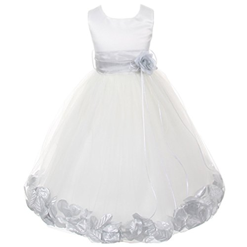 Big Girls White Sleeveless Satin Bodice Floating Flower Petals Girl Dress with Matching Organza Sash and Double Tulle Skirt - Silver Set - Size 8 ()