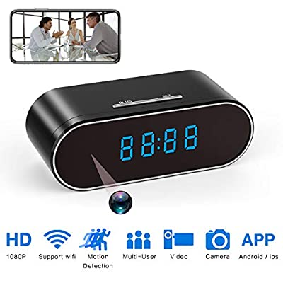 Hidden Spy Camera Clock HD 1080P IP Cameras with Night Vision/Motion Detection/Loop Recording, Nanny Cam for Home Security Monitoring by Cam Mall