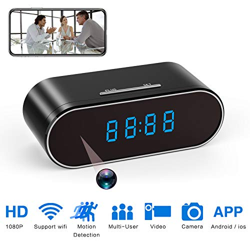 Hidden Spy Camera Clock HD 1080P IP Cameras with Night Vision/Motion Detection/Loop Recording, Nanny Cam for Home Security Monitoring