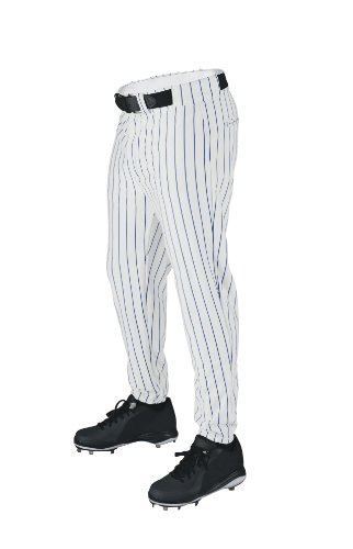 Wilson Sporting Goods Youth Deluxe Poly Warp Knit Pinstripe Baseball Pant, Large, White with Royal - Royal Jammers Blue