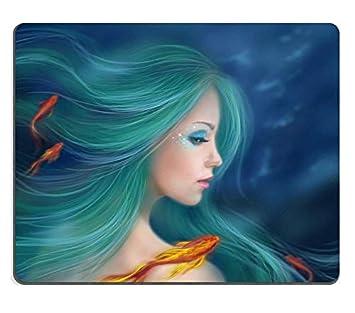 Alfombrillas de fantasía Sirena con Peces Rojos en el mar por ...