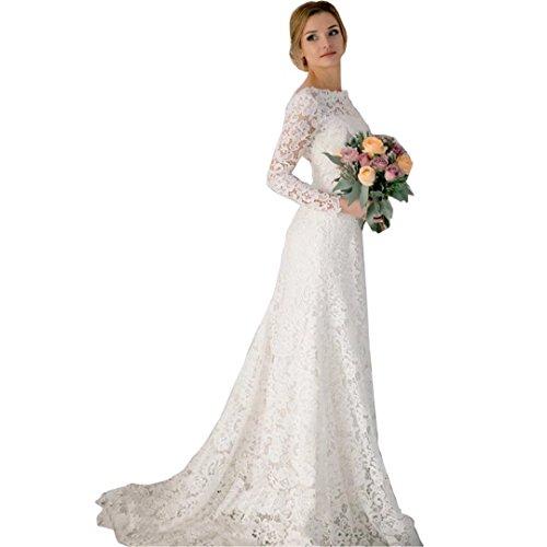 DingDingMail Romantic Lace Mermaid Wedding Dresses 2017 Long Sleeves  Backless Vintage Wedding Dresses Bridal Dresses 19be8ac33c46