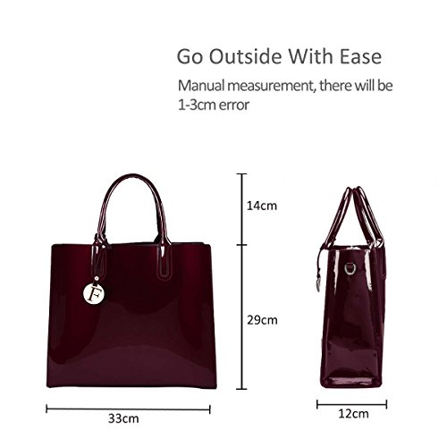 Nicole Crossbody Purse Glossy PU Women Bag Red Shoulder Red Bag Leather amp;Doris Handbag Bag Tote Large r8cxqgXrw1