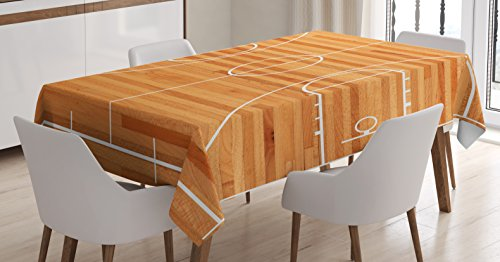 Lunarable Sports Tablecloth, Standard Floor Plan on Parquet Backdrop Basketball Court Playground Print, Dining Room Kitchen Rectangular Table Cover, 60 W X 90 L Inches, Pale Brown White