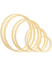 Larcenciel Wreath Rings 8 Pack 4 Sizes Wooden Bamboo Floral Hoop Set Wreath Macrame Craft Hoop Rings for DIY Dream Catcher and Wedding Wreath Wall Decor (5 / 6 / 8 / 10 inch)